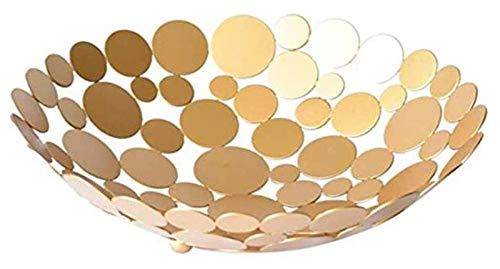 B-fengliu Cesta de Frutas Fruta, Cesta de Frutas de Gran Capacidad for Poly Rattan Redonda Cesta de Frutas de Frutas de Fruta Redonda Caja de Almacenamiento Caja de Frutas (Color : Gold)