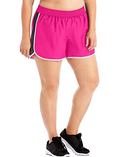 JUST MY SIZE Women's Plus-Size Active Woven Run Short, Vivid Fuchsia, 3X