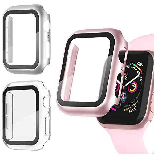 Recoppa 3 Pack Apple Watch case with Screen Protector for Apple Watch 38mm Series 3/2/1, Full Hard Cover Ultra-Thin Bumper HD Clear Protective Film Scratch Resistant for Women Men iWatch