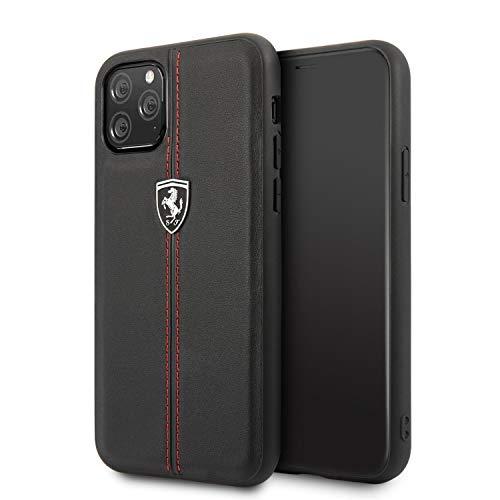 CG Mobile Ferrari - Custodia rigida in vera pelle per iPhone 11 Pro, con licenza ufficiale, colore: Nero