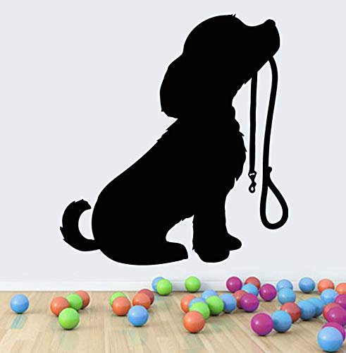 Decorazione del Negozio di Animali Cucciolo di Vinile con Colletto Adesivo da Parete Rimovibile Cucciolo di Cane Adesivo da Parete Camera dei Bambini Wall Art 57x63cm