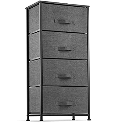 Dresser with 4 Drawers - Tall Storage Tower Unit Organizer for Bedroom, Hallway, Closet, College Dorm - Chest Drawer for Clothes, Steel Frame, Wood Top, Easy Pull Fabric Bins (Gray/White)