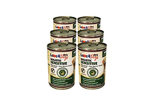 Love4Dogs Premium Nassfutter Holistic Wild, Hirsch und Reis mit Beeren, Kräuter und Leinöl 6x400g