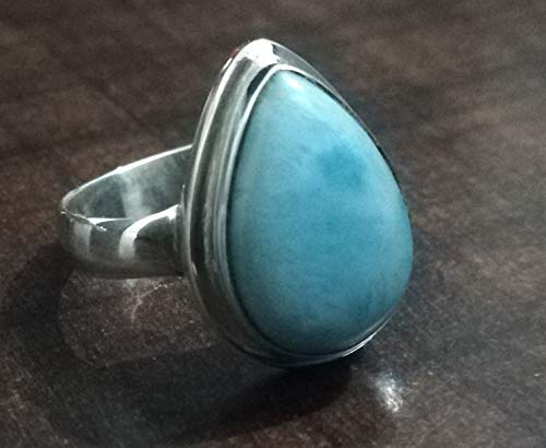 Pear Larimar Ring Dominican Republic Ring Classic Ring Stefilias Stone Ring Handmade Jewelry US All Ring Size 3-15