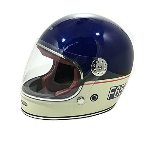 Viper F656 Motorradhelm für Erwachsene, Fiberglas, Vintage-Stil, Retro, klassischer Stil, Crash Racing, Touring, Sport, ECE App, Mitternachtblau/cremefarben - Midnight Blue/Cream - Größe S