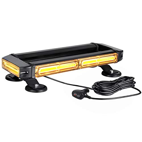 Strong Magnetic Led Amber Strobe Light Bar for Trucks Snow Plows Tractors Construction Vehicles SUV Roof Top Safety Lighting, WOWTOU 12V 24V Hazard Warning Emergency Flashing Beacon