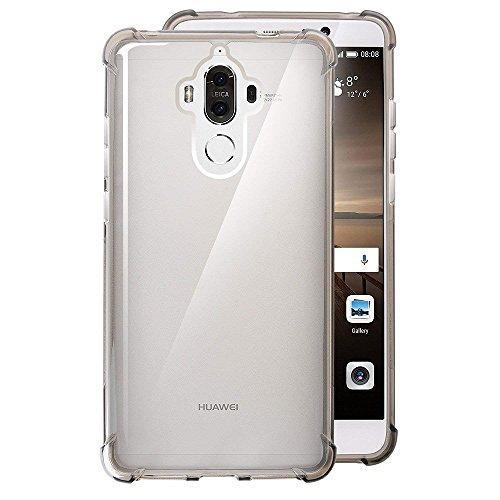 REY Funda Anti-Shock Gel Transparente para Huawei Mate 9, Ultra Fina 0,33mm, Esquinas Reforzadas, Silicona TPU de Alta Resistencia y Flexibilidad