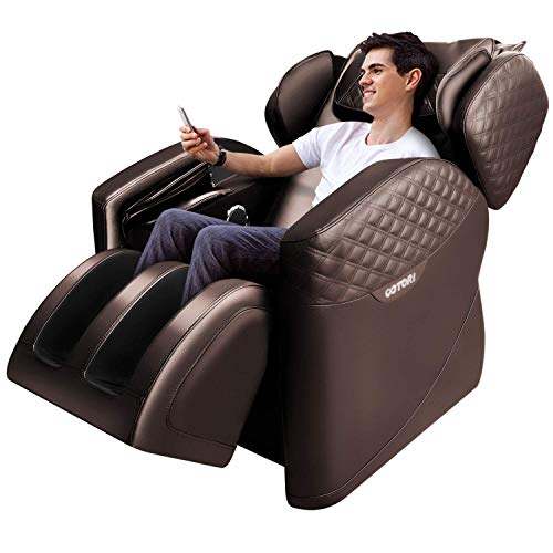 Massage Chairs by Ootori, Zero Gravity Massage Chair, Full Body Massage Chair with Lower-Back Heating, Bluetooth Speaker and Foot Roller (Brown)