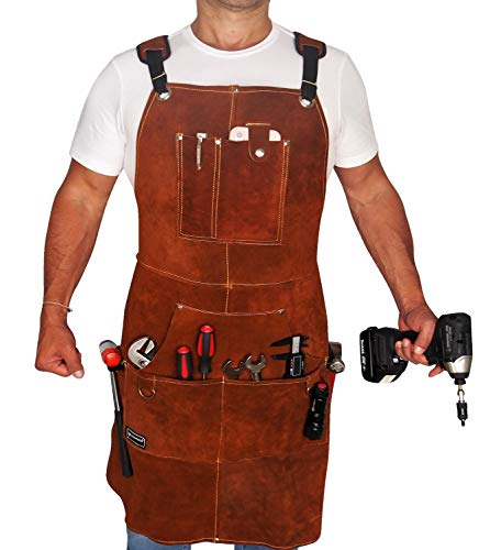 FIGHTECH Leather Work Apron with Tool Pockets for Men, Women   36 x 24   Welding Apron with Kevlar Stitching Ideal for Woodworkers, Blacksmiths, Gardeners, Mechanics, BBQ   Heavy Duty   Adjustable M to XXL