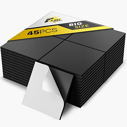 """Large Magnetic Squares - 45 Self Adhesive Magnetic Squares (Each 1.2"""" x 1.2"""") - Peel & Stick Magnetic Sheets - Flexible Sticky Magnets - Tape is Alternative to Magnetic Stickers, Strip and Roll"""