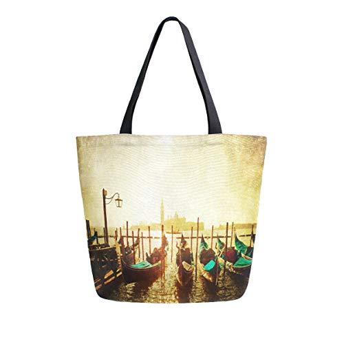 MNSRUU Vintage-Handtasche für Damen, Vintage-Design Venedig, Italien, Boot, Lebensmittel, wiederverwendbar, groß, lässig, Schultertasche für Einkaufen, Einkäufe, Reisen im Freien