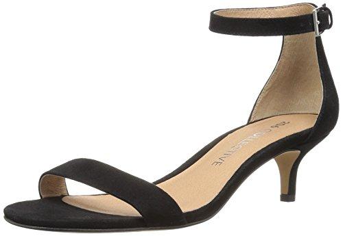 Amazon Brand - 206 Collective Women's Eve Stiletto Heel Dress Sandal-Low Heeled, black suede, 7 B US