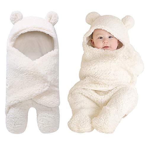 Wickeldecke mit Kapuze für Babys, Neugeborenes erhält Wickeldecke aus Fleece Schlafsack für Babys und Mädchen (Weiß)