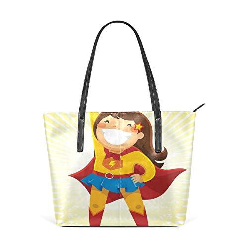 NR Multicolour Fashion Damen Handtaschen Schulterbeutel Umhängetaschen Damentaschen,Mutiges kleines Mädchen mit großem Lächeln im Kostüm, das heroische Position steht
