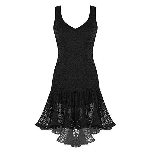 Leder-Dessous für Damen Erwachsene Tanzkleidung gerüschte Spitze hoch niedrig zeitgenössische Tanzkostüme für Damen Latein Samba Tanzkleid Ballsaal Dancewear - Schwarz _ L