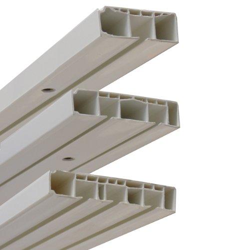Garduna Gardinenschiene Vorhangschiene, 1-/ 2-/ 3-läufig, Kunststoff, weiss (2-läufig 360cm (2x 180cm inkl. Verbinder))