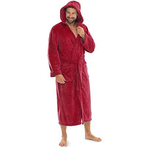 aqua-textil Bademantel Damen Malibu L Bordeaux rot Saunamantel Herren Coral Fleece Morgenmantel mit Kapuze