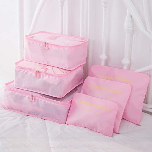 LANGU TECHNOLOGY 6pcs / Set Organizador Bolsas de Viaje portátiles de Almacenamiento de Equipaje Organizador Ropa ordenada Bolsa Maleta de Embalaje Caso Cubo (Color : Pink, Size : 6pcs)