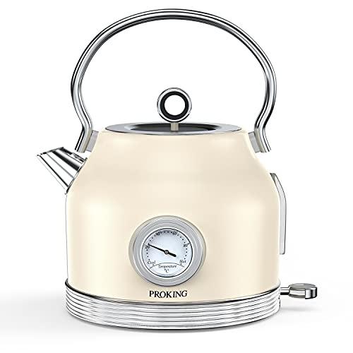 Hervidor de Agua de Acero Inoxidable Retro Con Termómetro de 1,7L, sin BPA, Apagado Automático, Protección para el Secado de la Cocina, Hervidor de Agua Vintage Inalámbrico (beige)