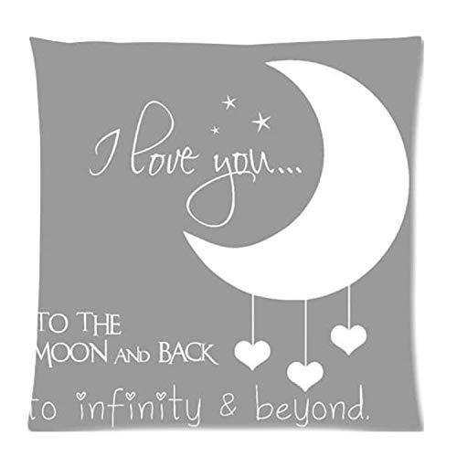 MDEIMAT Citas I Love You To The Moon y Back Home Funda de Almohada Decorativa Funda de Almohada Cuadrada con Cremallera 18x18 Pulgadas