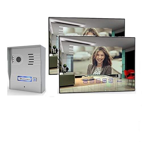 2 Draht Video Türsprechanlage Gegensprechanlage mit 7'' Monitor Aufputz, Farbe: Ohne, Größe: 2x7'' Monitor