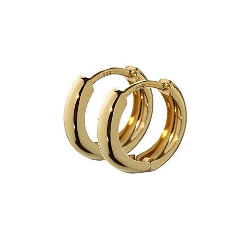 NKlaus Paar Klapp Creolen 333er gelb Gold rund 12,5mm dicke 3,1mm 6472