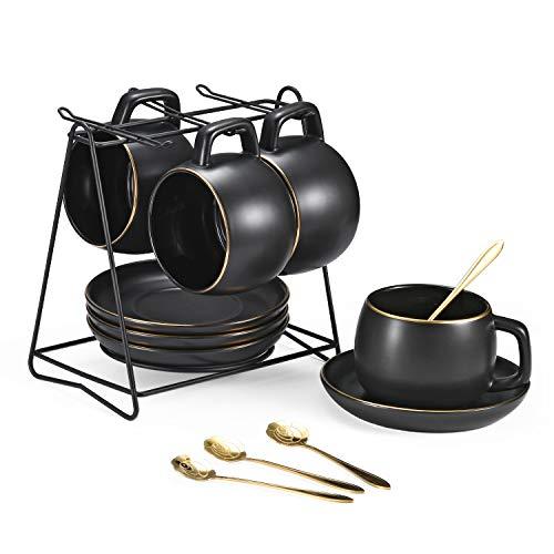SHENHAI Set von 4 9,5 Unzen Kaffeetasse mit Halter Rack, Gold Plated Edge Keramiktassen für Kaffee, Tee, Milch, Kakao, einschließlich 4 Tassen, 4 goldene Löffel, 4 Teller, schwarzes Gold