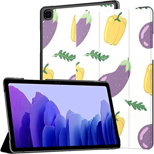 Funda de piel sintética para Samsung Galaxy Tab A7 de 10,4 pulgadas, diseño de berenjena, color amarillo