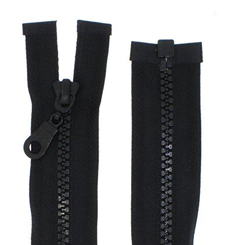 zipworld Reißverschluss Kunststoff - Plastik Zähne teilbar 5-6mm PZ schwarz-322 (33cm)