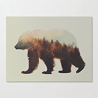 Good-Life Norwegian Woods The Brown Bear Art Canvas Wall Art Prints 12 x 16 Inch Framed Modern Decor Paintings Artwork for Living Room and Bedroom Decorations