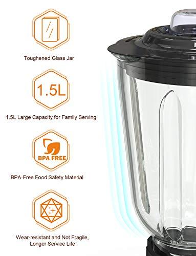 homgeek-standmixer-Glas-15L-Mixer-Hochleistung-700-Watt-Smoothie-Maker-6-scharfe-Edelstahlklingen-mit-Smoothie-Blender-27000UMin-ImpulsIce-Crush-Funktion