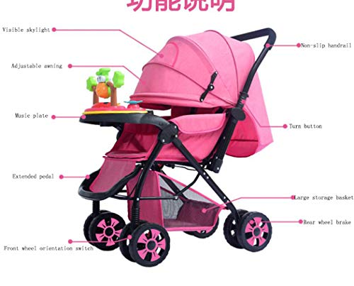 RAPLANC High View And Stylish Stroller, Baby Stroller for 2020, Four-Wheel Shock Absorption, 360-Degree Rotation Function, for Travel, Girly Heartpink,Blue RAPLANC ★ Fit kids 3-years up to 25kgs.Carbon steel material design to protect the safety of the baby.Can be fold into a very small size. Easy for traveling and car trips. Convenient one-hand and self-standing fold are smooth when use for pack up and go. ★ Large extended foldable canopy for maximum sun shade. A week-a-boo window, you can easily keep a watchful eye on your baby. Stay connected with your baby and no more worry while ensuring ventilation. Enlarge and easy to access storage basket holds all baby's necessities. Detachable cloth covers for easy cleaning. ★ Powder coating crafts. High quality material without pollutant. Small, light and practical. Armrest can be opened quickly in the middle. Detachable armrest offers safety guard and also allows baby easily in and out. 7