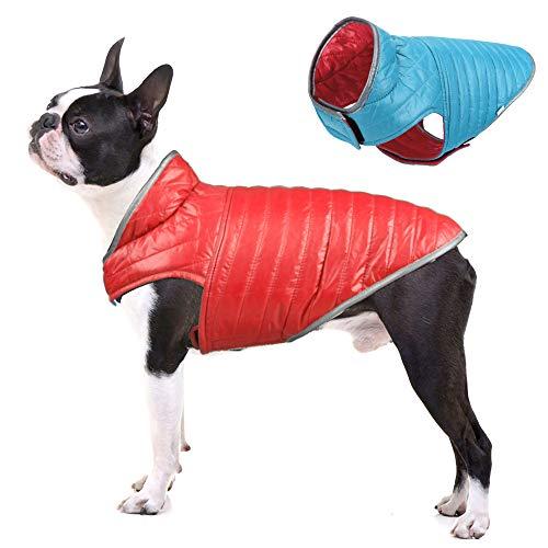 Filhome Reversible Dog Winter Jacket, Pet Puppy Winter Coat Vest Waterproof Windproof Lightweight Warm Jacket for Dogs