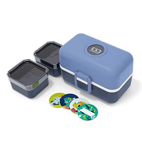 monbento - MB Tresor blau Infinity Brotdose Kinder mit Trennwand - Bento Box Kids mit Fächer - Individuell Gestaltbar - Snack Box