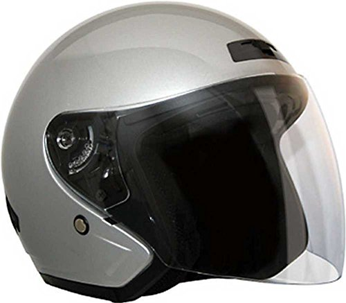 HCI Silver Fiberglass 3/4 Open Face Motorcycle Helmet w/Face Shield 20-230 (Lg)