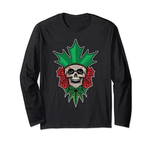 Crneo de azcar floral Dia De Los Muertos Da Mexicano de los Muertos Manga Larga