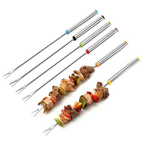 N-K Pulabo - Tenedor para barbacoa, pinchos de acero inoxidable, multicolor, resistentes al calor, herramientas para asar verduras, mermeladas y fondues, 6 unidades, rentables y duraderas
