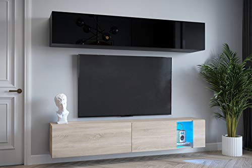 Home Direct Wohnschränke mit LED Beleuchtung Schrankwand Wohnwände mit Frontscheibe Modernes Wohnzimmer Exklusiv 6-20BS-HGM-1, LED RGB (16 Farben)