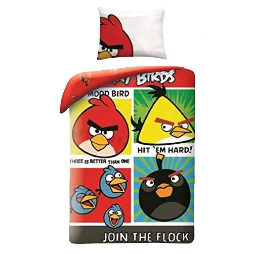 Parure De Lit Angry Birds Join The Flock Housse DE Couette 160x200cm 100% Coton Original ROVIO