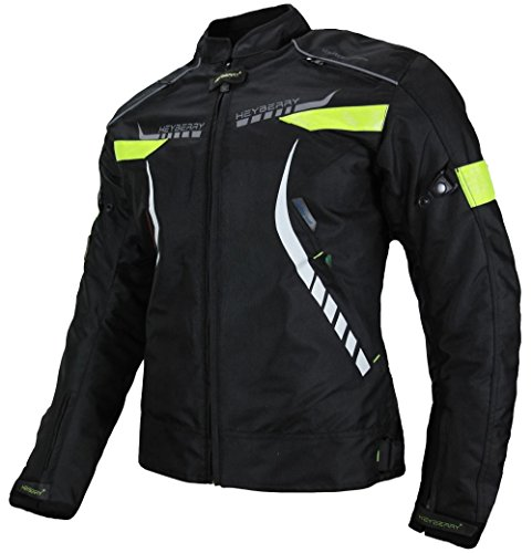 HEYBERRY Damen Motorradjacke Textil Schwarz Neon Gr. XL / 42