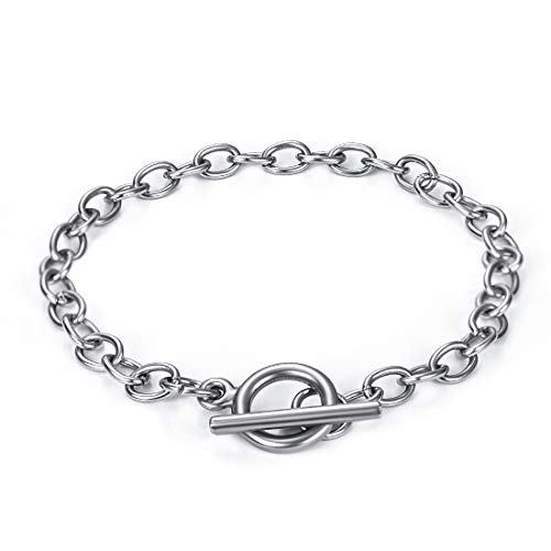 Chain 5Pcs Bracelets Stainless Steel Link Bracelet Connectors with OT Toggle Clasps Jewelry Findings for Women Girls
