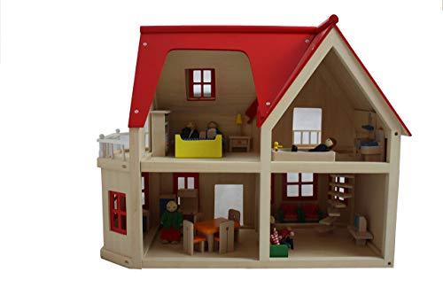 Großes Puppenhaus aus Holz mit Biegepuppenfamilie und Möbeln