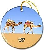 Emiratos Árabes Unidos, Desert Camel Dubai Adornos redondos de cerámica de 2,8 pulgadas Pandent para amigos de familia