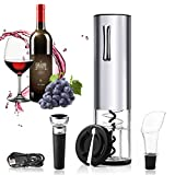 IPOW Sacacorchos Eléctrico Inalámbrico con 4 Accesorios de Vino, Abrebotellas Electrico Recargable USB, Abridor de Vino Electrico Padre Hombre en Bar, Bodas