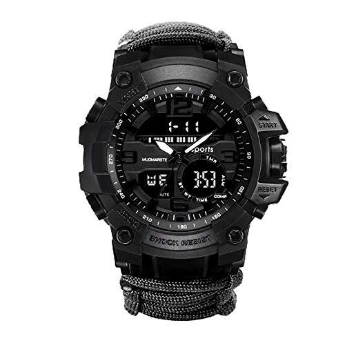 Hktec Reloj de pulsera deportivo analógico digital para hombre, reloj electrónico luminoso, resistente al agua hasta 50 m, brújula, reloj de pulsera con cronógrafo, regalo para el día del padre