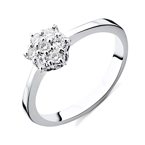 Orovi Damen Diamant Ring Weißgold, Verlobungsring 9 Karat (375) Gold und Diamanten Brillanten 0.21 Ct Ring Handgemacht in Italien