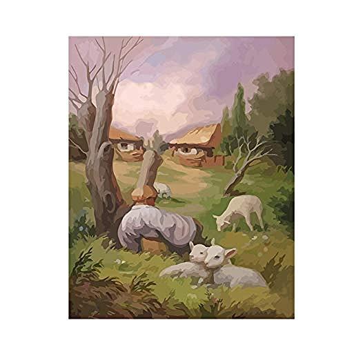Pintura al óleo digital diy Barba de cabra Adorno retro Regalo Arte Principiantes Paisaje Vista a la calle Dormitorio Sala de estar 40X50Cm DIY Pintura al óleo