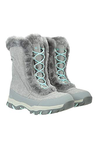 Mountain Warehouse Ohio Womens Snow Boots - Waterproof Ladies Winter Shoes, Textile Upper, Breathable Thermal Lining & Rubber Grip Sole - Best Footwear for Ski Holidays Grey Womens Shoe Size 6 UK