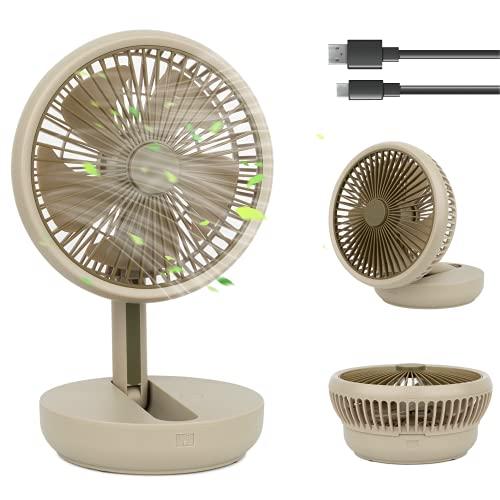 MadxfroG Ventilatore da Tavolo USB Silenzioso (25x17cm) Ricaricabile 3600mAh Ventilatore da Scrivania Portatile Pieghevole e Appendibile con Powerbank e Cavo USB-C per Casa Ufficio Giardino Campeggio