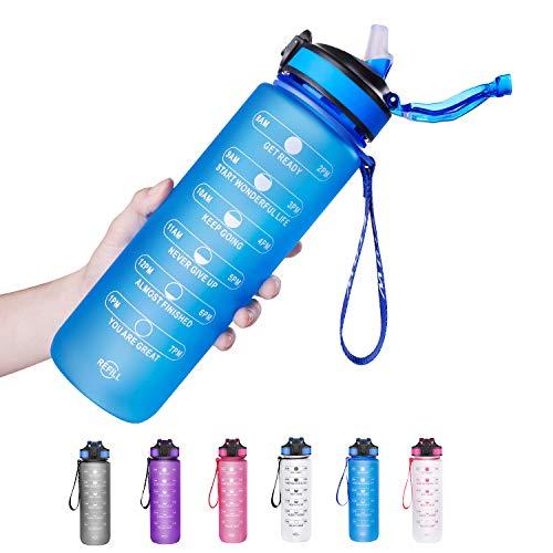 ETDW 1 Liter Sportflasche aus Tritan mit Zeitangaben BPA-Frei, Wiederverwendbare Verdickt 1000ml Tragbarer Eimer mit Strohhalme Sportflasche mit Starkem Griff BLAU
